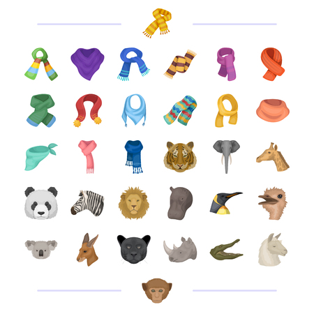 Different types of scarves and other web icon in cartoon style. wild animals icons in set collection.