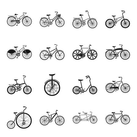 Ilustración de Different models of bicycles. Different bicycle set collection icons in black style vector symbol stock illustration web. - Imagen libre de derechos