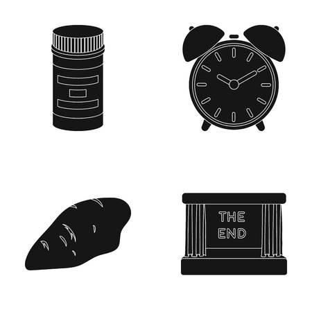 Illustration pour Packaging, alarm clock and other  icon in black style.chicken breast, movie screen icons in set collection. - image libre de droit