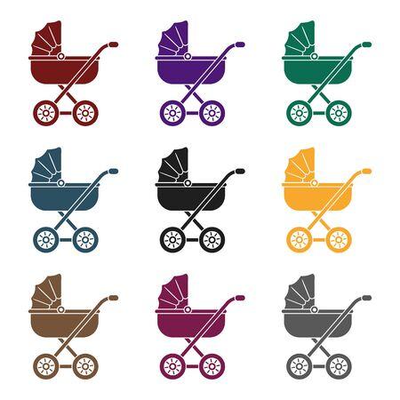 Illustration pour Baby transport icon in black style. - image libre de droit