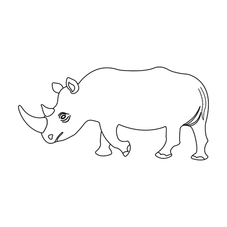 Illustration for A large Indian rhinoceros. A wild animal, a rhinoceros single icon in outline style vector symbol stock illustration web. - Royalty Free Image