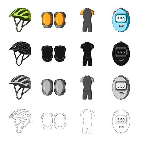 Illustrazione per Protective helmet of a bicyclist, knee pads, outfit overalls, timer. - Immagini Royalty Free