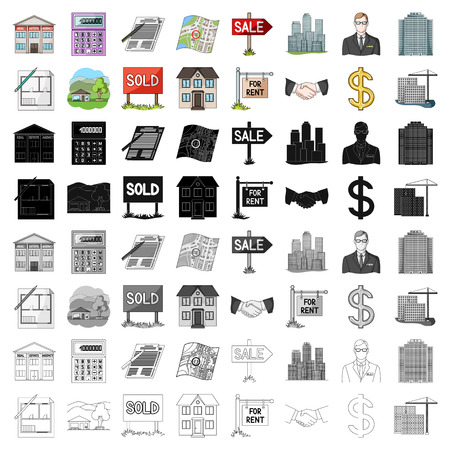 Illustration pour Real estate agency and other attributes. set collection icons in cartoon style vector symbol stock illustration web. - image libre de droit