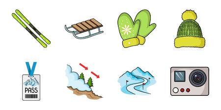 Ilustración de Ski resort and equipment icons in set collection for design. Entertainment and recreation vector symbol stock  illustration. - Imagen libre de derechos