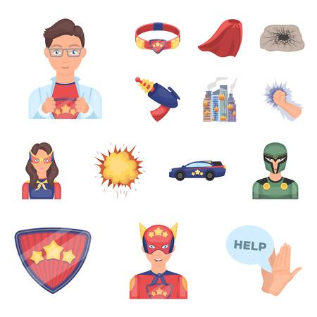 Illustration pour A fantastic superhero cartoon icons in set collection for design. Superheros equipment vector symbol stock web illustration. - image libre de droit