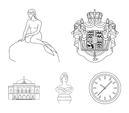 Illustration pour National, symbol, drawing, and other web icon in outline style illustration. Denmark, attributes, style, icons in set collection. - image libre de droit
