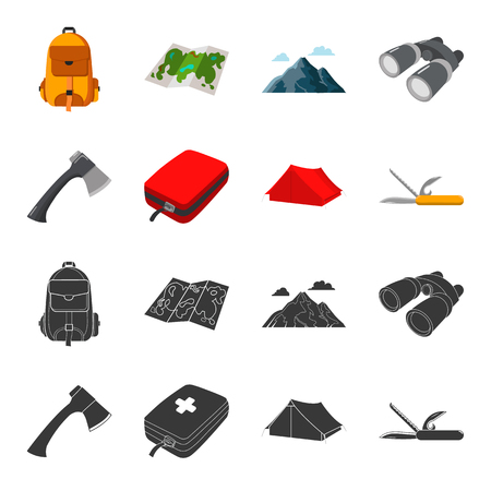 Illustration pour Ax, first-aid kit, tourist tent, folding knife. Camping set collection icons in black,cartoon style vector symbol stock illustration . - image libre de droit