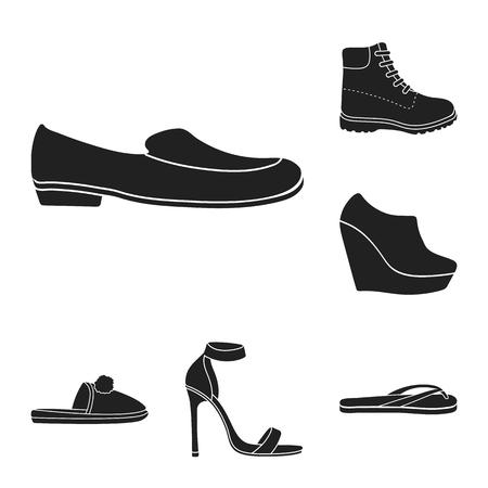 Ilustración de A variety of shoes black icons in set collection for design. Boot, sneakers vector symbol stock illustration. - Imagen libre de derechos