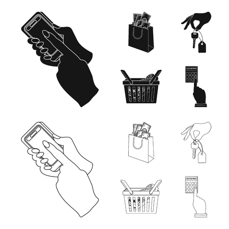 Illustration pour Mobile phone, a package with money and other web icon in black,outline style. a key in hand, a basket with food icons in set collection. - image libre de droit