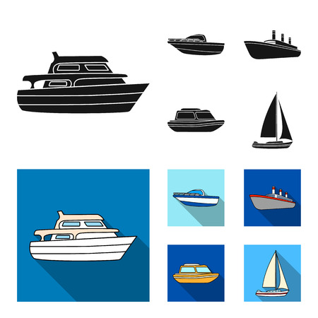 Protection boat, lifeboat, cargo steamer, sports yacht.Ships and water transport set collection icons in black, flat style vector symbol stock illustration web.