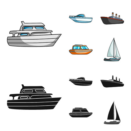 Protection boat, lifeboat, cargo steamer, sports yacht.Ships and water transport set collection icons in cartoon,black style vector symbol stock illustration web.