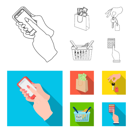 Illustration pour Mobile phone, a package with money and other web icon in outline,flat style. a key in hand, a basket with food icons in set collection. - image libre de droit