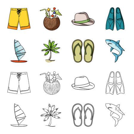 Board with a sail, a palm tree on the shore, slippers, a white shark. Surfing set collection icons in cartoon,outline style vector symbol stock illustration web.