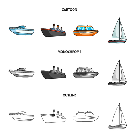 Protection boat, lifeboat, cargo steamer, sports yacht.Ships and water transport set collection icons in cartoon,outline,monochrome style vector symbol stock illustration web.