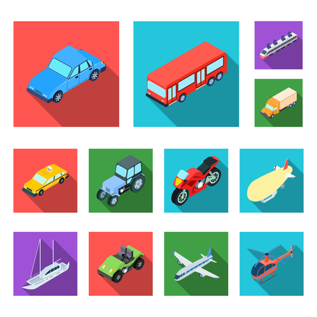 Illustration pour Different types of transport flat icons in set collection for design. Car and ship isometric vector symbol stock  illustration. - image libre de droit