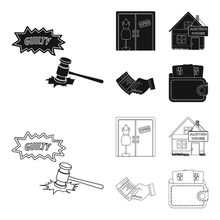 Illustration pour Justice, women clothin and other web icon in black,outline style. the auction house, a check about payment icons in set collection. - image libre de droit