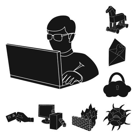 Ilustración de Hacker and hacking black icons in set collection for design. Hacker and equipment vector symbol stock web illustration. - Imagen libre de derechos