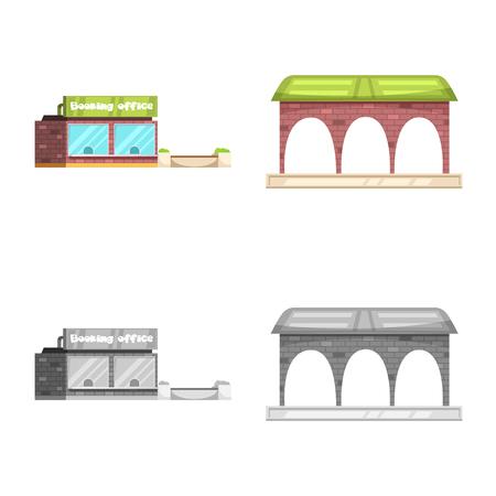 Ilustración de Isolated object of train and station symbol. Set of train and ticket stock vector illustration. - Imagen libre de derechos