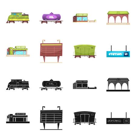 Ilustración de Vector illustration of train and station symbol. Collection of train and ticket stock symbol for web. - Imagen libre de derechos