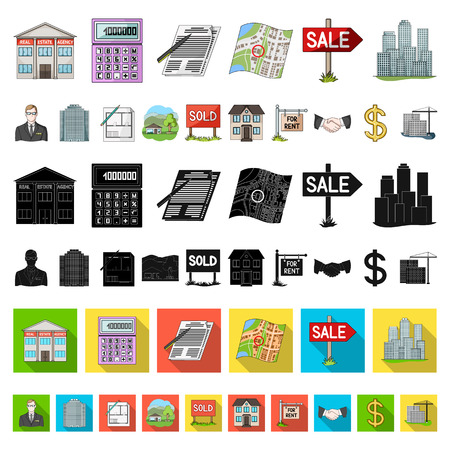 Illustration pour Realtor, agency cartoon icons in set collection for design. Buying and selling real estate vector symbol stock  illustration. - image libre de droit