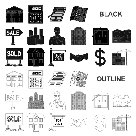 Illustration pour Realtor, agency black icons in set collection for design. Buying and selling real estate vector symbol stock  illustration. - image libre de droit