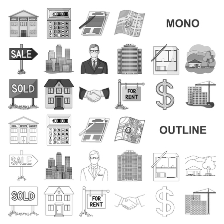 Illustration pour agency monochrom icons in set collection for design. Buying and selling real estate vector symbol stock web illustration. - image libre de droit