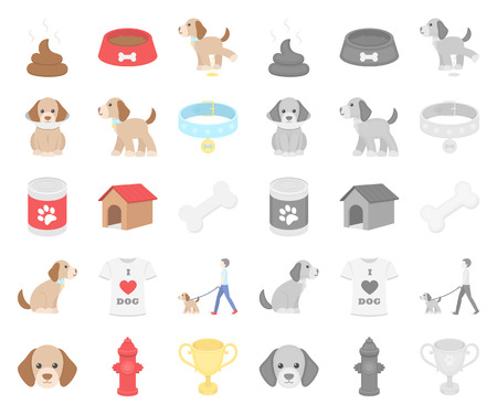 Pet dog cartoon,mono icons in set collection for design. Caring for the puppy vector symbol stock web illustration.
