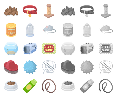 Pet shop cartoon,mono icons in set collection for design.The goods for animals vector symbol stock web illustration.
