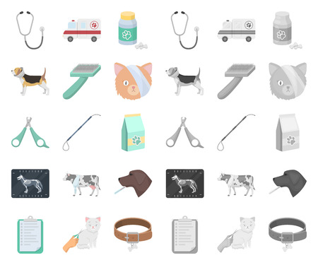 Veterinary clinic cartoon,mono icons in set collection for design. Treatment of a pet vector symbol stock web illustration.