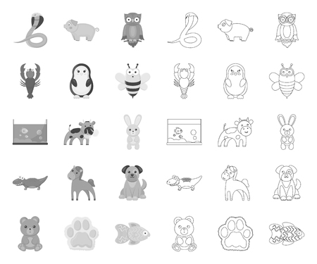 An unrealistic mono,outline animal icons in set collection for design. Toy animals vector symbol stock web illustration.