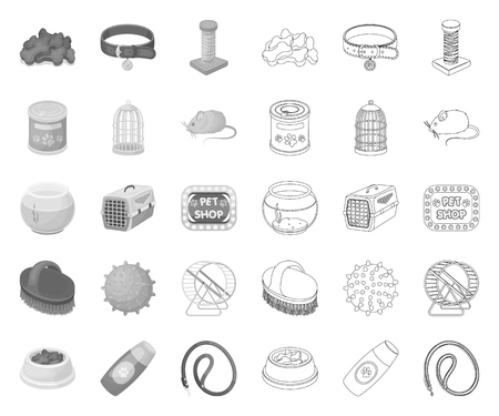 Pet shop mono,outline icons in set collection for design.The goods for animals vector symbol stock web illustration.