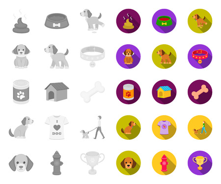 Pet dog mono,flat icons in set collection for design. Caring for the puppy vector symbol stock web illustration.