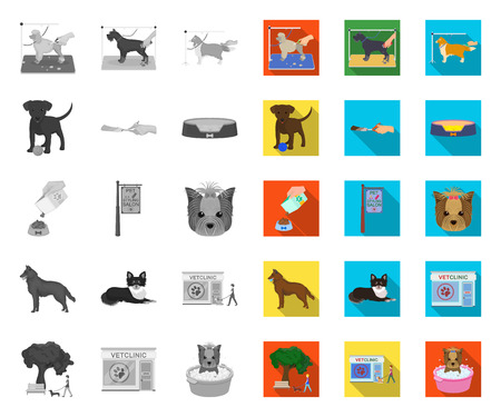 Pet mono,flat icons in set collection for design. Care and education vector symbol stock web illustration.