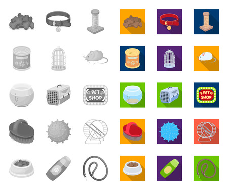 Pet shop mono,flat icons in set collection for design.The goods for animals vector symbol stock web illustration.