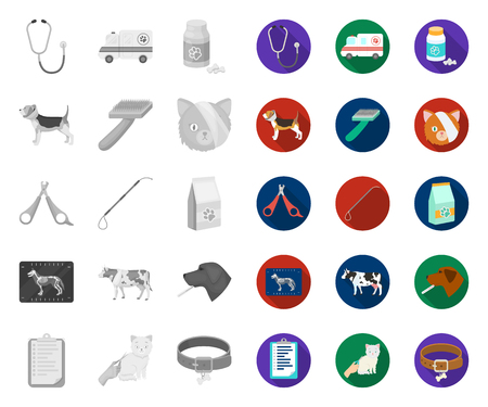 Veterinary clinic mono,flat icons in set collection for design. Treatment of a pet vector symbol stock web illustration.
