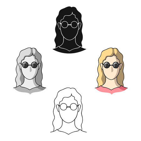 Illustration pour A woman with blond hair with glasses.A blind woman because of diabetes.Diabetes single icon in cartoon,black style vector symbol stock illustration. - image libre de droit