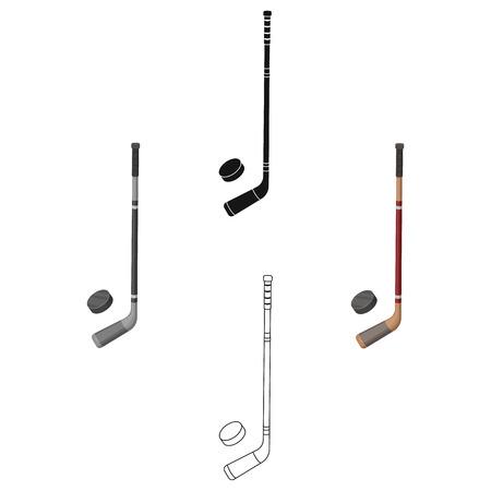 Ilustración de Hockey stick and washer. Canada single icon in cartoon,black style vector symbol stock illustration web. - Imagen libre de derechos