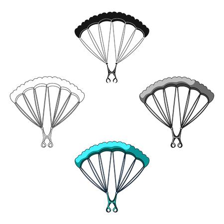 Ilustración de Parachuting.Extreme sport single icon in cartoon,black style vector symbol stock illustration web. - Imagen libre de derechos