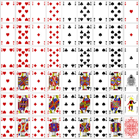Illustration pour Poker cards full set four color classic design 400 dpi - image libre de droit