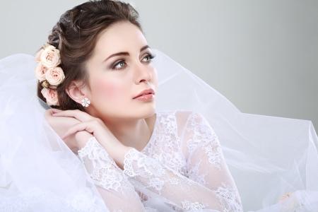 Photo for Portrait of beautiful bride. Wedding dress. Wedding decoration - Royalty Free Image