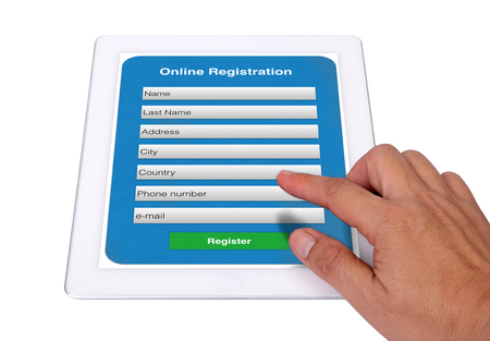 Photo pour It is simple to input your information to online registration form. - image libre de droit
