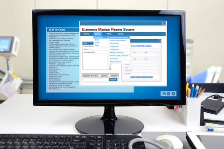 Photo pour Medical information and electronic medical record system show on computer display. - image libre de droit