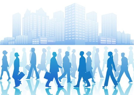 Illustration pour Business people in silhouette walking in different directions  - image libre de droit