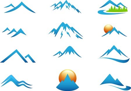 Illustration pour Mountain icon collection set - image libre de droit
