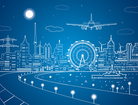 Illustration pour Airplane comes in to land on the background of the city at night, the ship on the water - image libre de droit
