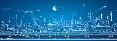 Illustration pour Airport panorama, city infrastructure - image libre de droit