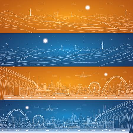 Illustration pour Energy industrial panorama, mountains landscape - image libre de droit