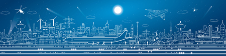 Illustration pour Airport mega panorama, aircraft on runway, airplane takeoff, transport and infrastructure, night city on background, vector design art - image libre de droit