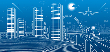 Ilustración de Train move on the bridge, mountains, night city on background, towers and skyscrapers, infrastructure and transport illustration, airplane fly, white lines, vector design art - Imagen libre de derechos