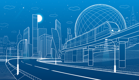 Illustration pour City infrastructure and transport illustration. Monorail railway. Train move over flyover. Spherical building. Modern night city. Airplane fly. Towers and skyscrapers. White lines. Vector design art - image libre de droit